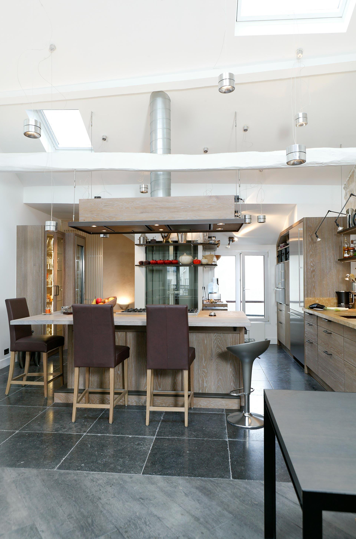 cuisine en ch ne old grey et pierre de bourgogne une r alisation xavie 39 z. Black Bedroom Furniture Sets. Home Design Ideas